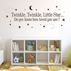 Twinkle Twinkle Little Star Vinyl Wall Decal - Boy Girl Baby Vinyl Wall Decal Quote Poem with Moon and Stars