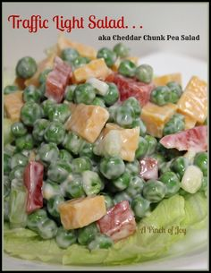Traffic Light Salad aka Cheddar Chunk Pea Salad A Pinch of Joy -- English Pea Salad Green Pea Salad, Green Peas, Salad Bar, Soup And Salad, Pea Salad Recipes, Cooking Recipes, Healthy Recipes, Traffic Light, Vegetable Salad