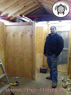 16- This picture was taken in winter with one of the builders,  he is standing there will it is -20 degrees Celsius outside.  With the insulation and a couple of lamps the interior was hot enough to work in.  Pics form Turtle Island Tiny Homes.