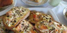 Αυγόφετες στο φούρνο με γεύση πίτσας. Μία ωραία και πολύ νόστιμη ιδέα ! Quiche Lorraine, Greek Recipes, Salmon Burgers, Finger Foods, Tapas, French Toast, Sandwiches, Recipies, Brunch