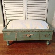 Beautiful shabby painted dog bed made from an old drawer!