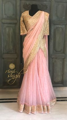 """Deep in every heart slumbers a dream, and the couturier knows it: every woman is a princess."" Blush pink lehanga saree, upper drape georgette lower drape net,with gota patti hand embroidery, paired with a heavily embroidered blouse with gotta patti and sitara . Available exclusively at Rimi Singh Studio A 999 Sushant Lok 1 Gurgaon #9818310054 Lehanga Saree, Organza Saree, Bridal Lehenga, Lilac Grey, Blush Pink, Half Saree, Indian Designer Wear, Embroidered Blouse, Saris"