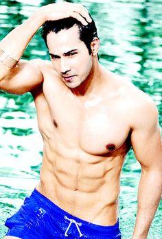Indian actor Varun Dhawan shirtless...