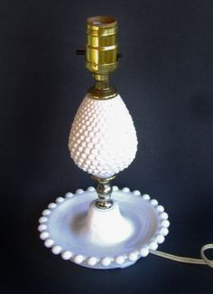 Fenton Milk Glass Hobnail Lamp  Fenton Glass Lamp by bequirksy, $25.00