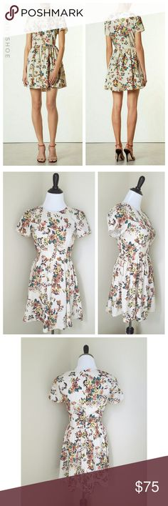 {topshop} 'embroidered' floral dress A lightweight, short-sleeve dress with a fun, flippy skirt is patterned in a delightful faux cross-stitched floral motif for a cute, vintage-inspired look. Features an unique embroidery print.  From Topshop  Would be perfect for a summer party, Wedding, graduation party,  baby shower or Bridal shower!  Convenient back zip. Unlined. Polyester.  Machine washable!  Gently worn with no flaws Size 4 (topshop sizing) Modeled on my mannequin:  measurements are…