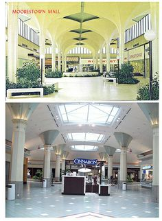 moorestown mall old photos | Moorestown Mall Central Court Then and Now
