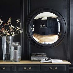 VENDOME wooden convex mirror in black H 90cm