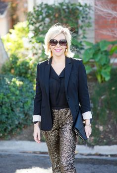 Blazer and gold sequined pants-Kacee from Life with Lipstick On