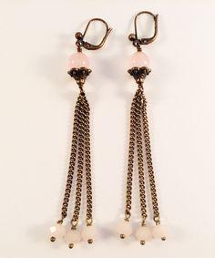 Laiton vieilli - Quartz Rose - Cristal de Bohême Quartz Rose, Charlotte, Drop Earrings, Jewelry, Fashion, Crystal, Brass, Moda, Jewlery