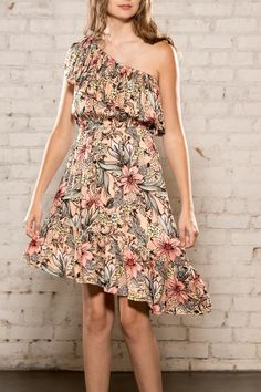"""Assymetrical floral dress with ruffle neckline and hem.    Length 35"""" right side, 33"""" left side   Wonder Dress by MinkPink. Clothing - Dresses - Casual Georgia"""