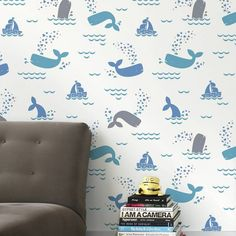 Set your nursery sailing with this nautical wallpaper.