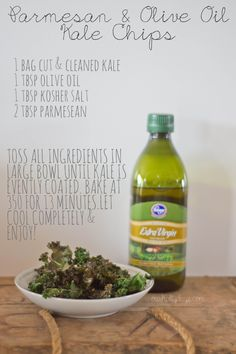 kale chips, so easy & actually really yummy! ETA, SALT TYPO....ADD TSP (MORE OR LESS TO TASTE)