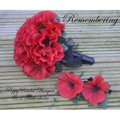 REMEMBERING - Red Silk Poppy Bridal Bouquet With 2 Matching corsages