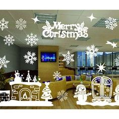 Christmas Window Decoration Santa Claus/deer/snowflakes/snowman Christmas Pringting Draw Ner Year Enfeites de natal