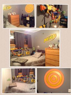 Cool Nerf Room Nerf Gun, Bedroom Themes, Kids Bedroom, Boys Bedroom Ideas Tween, Bedrooms, Gun Rooms, Nerf Party, Kids Decor, Home Decor