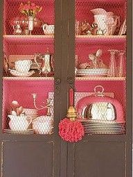 lined cupboard, maybe not in this color but I like this idea