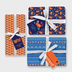 With its purrfectly festive design this printable gift wrap is sure to delight your loved ones. Easy to make on your home computer and printer. Christmas Gift Wrapping, Orange, Paper Size, Gift Tags, Printer, Festive, First Love, Cheer