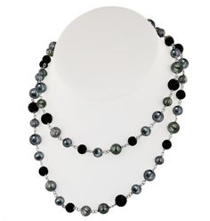 """Sterling Silver 7-10mm Black Round Ringed Freshwater Cultured Pearl and 8mm Pave Crystal Bead 36"""" Necklace"""