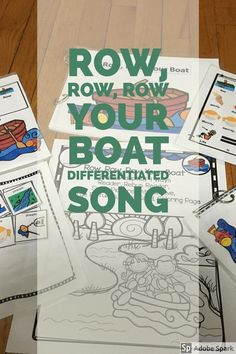 Row Row Row Your Boat This is a great song for circle time fun. As the rhyme is short with repeating lyrics it is great for beginner speakers including preschoolers, kindergarteners, English Language Learners and those with speech and language difficultie Rhyming Activities, Preschool Songs, Preschool Lessons, Teaching Activities, Kids Songs, Row Row Your Boat, The Row, Everything Preschool, English Language Learners