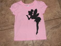 Tinkerbell shirt. try doing this design w/ bleach pen & stencil?