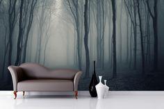 Grey Mist Forest Mural Wallpaper from Murals Wallpaper in the UK