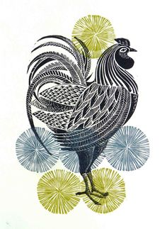 Great Bardfield Lino Print-  cockerels by Amanda Colville, via Behance