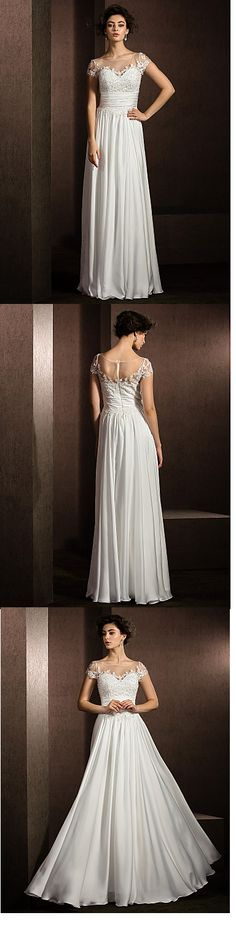 This wedding dress looks so elegant! Do you want this long satin chiffon dress? Explore more with us!