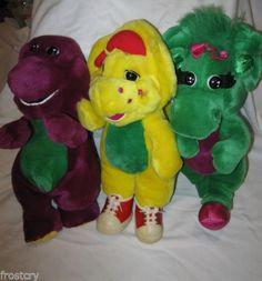 Barney Baby Bop BJ Lot of 3 Plush PreSchool Doll Toy Purple Dinosaur Friend EUC