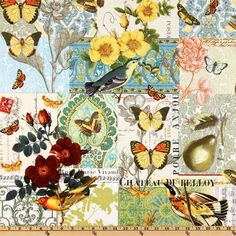 Michael Miller French Journal Collection Anjou Pour Vous Yellow from @fabricdotcom  Designed by London Portfolio for Michael Miller Fabrics.
