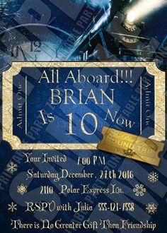 Birthday Invitation // Kid Birthday Invitation // Polar Express ...