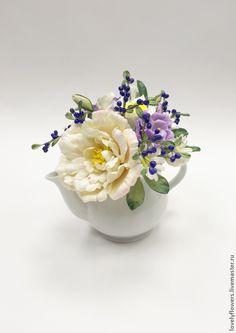 Купить Цветы в чайнике из полимерной глины - бледно-розовый, цветы ручной работы, розы