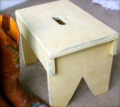 Vintage Inspired Wood Step Stool by Glitterfarm on Etsy, $38.00