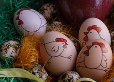 Cute chickens on Easter egg, use sharpie