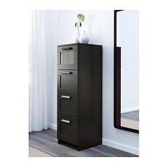 IKEA - BRIMNES, Commode 4 tiroirs, noir/verre givré, , Les tiroirs, qui sont faciles à ouvrir et à fermer, sont équipés d'arrêts.