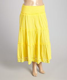 Loving this Yellow Peasant Skirt - Plus on #zulily! #zulilyfinds