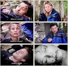 Derek: Where's Lexie? Arizona: Where's Lexie? Mark: Lexie's dead. FEELS.