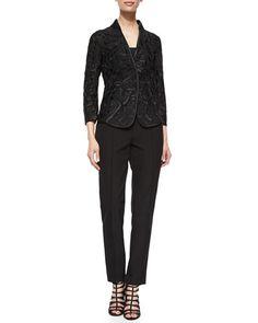 -5Y8C Escada Embroidered Tulle Jacket & Hepburn Slim Stretch Pants