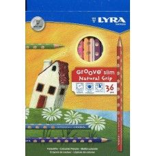 LYRA Groove Slim Child-Grip triangular colored Pencils, Millimeter Cores, Includes Sharpener, Set of 24 triangle Pencils, Assorted Colors Artist Pencils, Solid Wood Flooring, Drawing Letters, Pencil Sharpener, Coloured Pencils, Slime, School Supplies, Shopping, Beauty