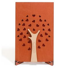 Handmade Real Wood Love Card with Stand, best Wooden Gift for Wedding Anniversary Valentine's Day Happy Birthday cute Present for Him Boyfriend Men Husband or Her Girlfriend Women Wife.