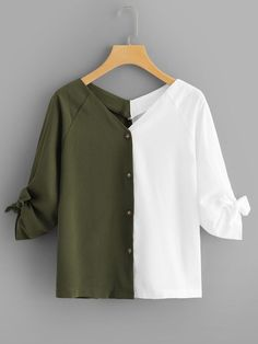 Young Casual Shirt Regular Fit V Neck Long Sleeve Placket Multicolor Regular Length Color Block Knot Detail Blouse - Women Long Sleeve Shirts - Ideas of Women Long Sleeve Shirts Teen Fashion Outfits, Mode Outfits, Hijab Fashion, Casual Outfits, Fashion Dresses, Blouse Styles, Blouse Designs, Mode Abaya, Spring Shirts
