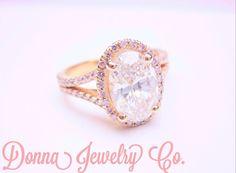 Pretty in Pink Oval Diamond with Pink Diamond Halo Split Shank #jewelry #engagement #wedding #beautiful