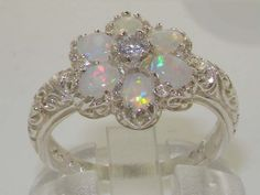Solid 925 Sterling Silver Womens Opal & Diamond Vintage Art Nouveau Flower Ring - Finger Sizes 4 to 12 Available: Jewelry