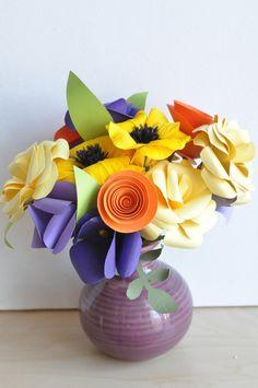 Purple paper Flowers Paper Flower bouquet, Valentine's Day Bouquet, Paper flower…