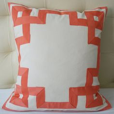 greek key pillow in coral