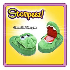"Stompeez are colorful! Stompeez are soft! Stompeez are fluffy! Stompeez is also built to last and provide many STOMPING FUN NIGHTS! Stompeez, ""the slippers with Personality"". A Christmas Story, Kids Christmas, Christmas Gifts, Xmas, Cute Slippers, Kids Slippers, Green Dragon, See On Tv, Gifts For Boys"