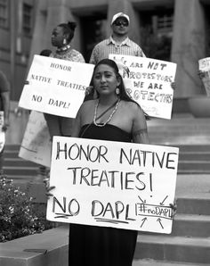 """""""Honor Native Treaties! No DAPL. #noDAPL""""  Photo credit: Does anyone know who took this picture, when it was taken, and where it was taken?"""
