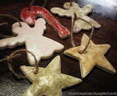 Craft-O-Maniac: Baked Christmas Ornaments--- could also use red rick rack or baking string or ribbon to hang.