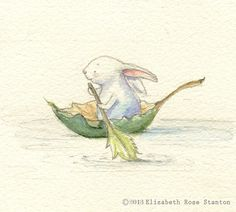 The Little Rower Original watercolor/Elizabeth Rose Stanton
