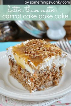 Better Than Easter Carrot Poke Cake, This is seriously SO yum!...she says the frosting is a combo of cream cheese, cool whip and reg frosting, sounds amazing!!