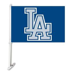 "Los Angeles Dodgers Double Sided Car Product Baseball TeamCar Polyester Flags Banner 30x45cm With 50cm Plastic Flag Pole 11""*15"""